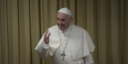 Pope Francis at the meeting of Italian bishops yesterday (Vatican Media)