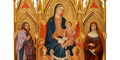 A detail of 'The Mother of Divine Wisdom, St Joseph and St Mary of the Cross MacKillop' triptych by Chiara Perinetti Casoni (ACU)