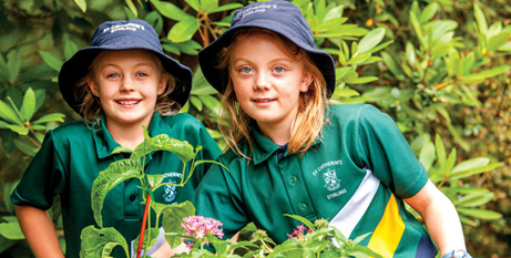 St Catherine's Parish School Year 4 students Clare and Baye enjoying the natural environment of the Adelaide Hills. Picture: Southern Cross/Darren Clements