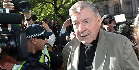 Cardinal George Pell arrives at the County Court in Melbourne in February (CNS-Daniel Pockett-AAP images via Reuters)