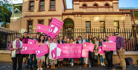 Pro-life supporters outside Parliament House in Sydney last week (Giovanni Portelli-Catholic Weekly)