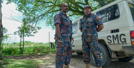 A mobile unit from PNGs paramilitary squad is on Manus following the self-harm incidents (ABC News/Natalie Whiting)