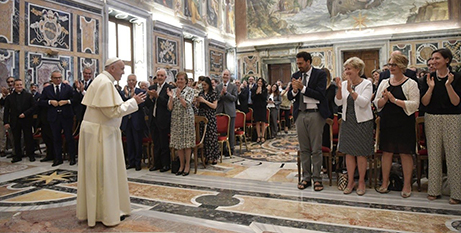 Pope Francis meets with the Forum of Family Associations on Saturday (Vatican Media)