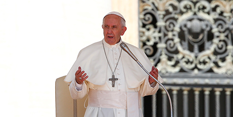 Pope Francis at the general audience yesterday (CNS/Tony Gentile, Reuters)