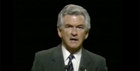 Bob Hawke at the 1987 election campaign launch (YouTube)