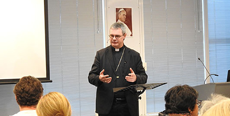 Archbishop-designate Peter Comensoli speaks at the conference (Broken Bay Diocese)