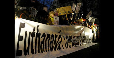 Protesters demonstrate against euthanasia in Brussels in 2014 (CNS/Laurent Dubrule, Reuters)