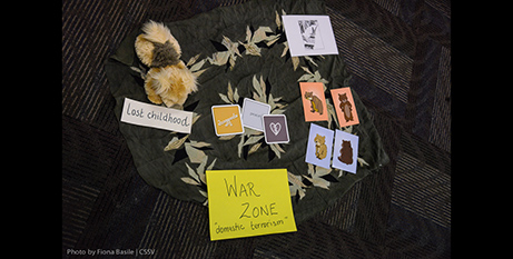 Workshop participants used props and words to articulate a definition of family violence (CSSV/Fiona Basile)
