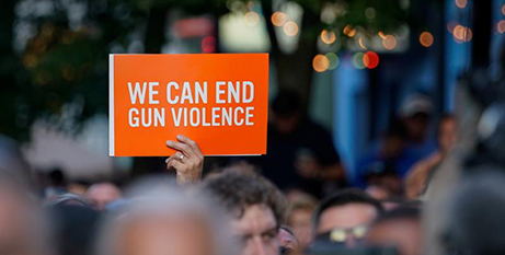A vigil in Dayton, Ohio, on Sunday following the deadly shooting (CNS/Bryan Woolston, Reuters)