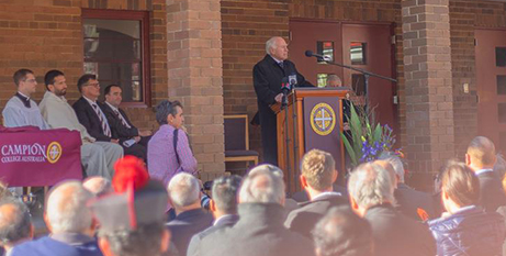John Howard at Campion College yesterday (Facebook/Reitsma Constructions)