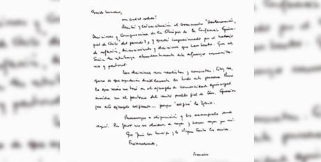 The handwritten letter from Pope Francis to the Chilean bishops (Vatican Media)