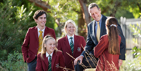 Lynn Martin with Xavier College students (The Southern Cross)