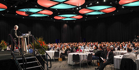 Bishop Donald Sproxton addresses Catholic educators at the Perth Convention and Exhibition Centre last week (The eRecord/Josh Low)