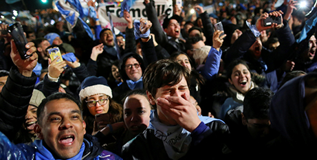 Pro-life advocates in Buenos Aires after the abortion vote (CNS/Agustin Marcarian, Reuters)