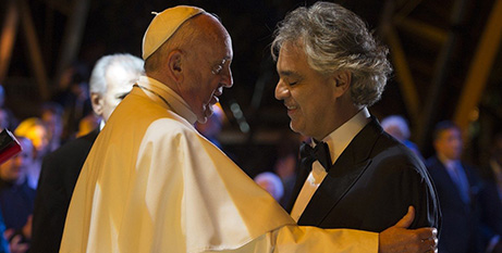 Pope Francis and Andrea Bocelli at the World Meeting of Families in Philladelphia, 2015 (Vatican Media)