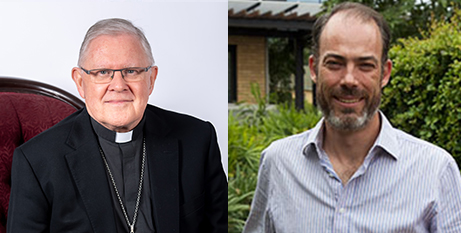 Archbishop Mark Coleridge and Queensland Bioethics Centre director David Kirchhoffer (ACBC/The Catholic Leader)