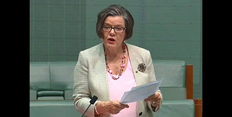 Cathy McGowan introduces her bill yesterday (Facebook/Cathy McGowan for Indi)