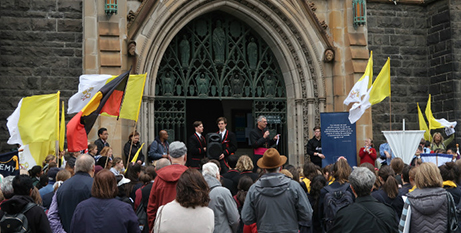 Bishop Mark Edwards addresses the Walk of Witness crowd at St Patrick's Cathedral (Melbourne Catholic)