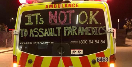 Paramedics have been writing messages on ambulances to discourage attacks (ABC News/Twitter, Danny Hill)