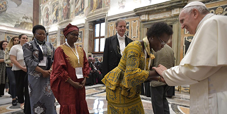 Pope Francis greets conference delegates yesterday (Vatican Media)