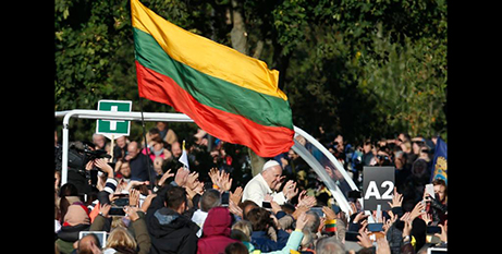 Pope Francis in Lithuania yesterday (CNS/Paul Haring)