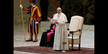 Pope Francis speaks after the thanksgiving Mass for St Oscar Romero in Paul VI hall on Monday (CNS/Paul Haring)