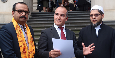 James Merlino (centre) with faith leaders opposed to euthanasia (Melbourne Catholic)