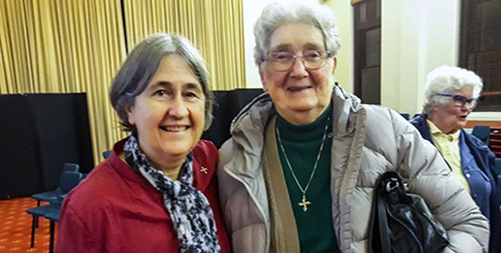Dr Trish Madigan with fellow Dominican Sr Regina O'Neil at the Catholic Women Speak (The eRecord)