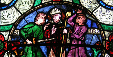 A stained glass window at Cantebury Cathedral depicting the murder of St Thomas Becket (Wikimedia)