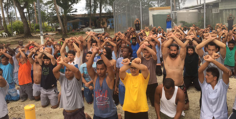 Asylum-seekers protest the closure of the Manus Island detention centre in November last year (Twitter/@has_hasabala)
