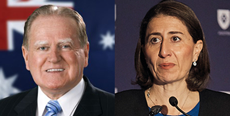Fred Nile and Gladys Berejiklian (Fred Nile website and ACU)