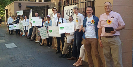 Support Not Suicide protestors outside NSW parliament yesterday (Twitter/SNS_NSW)