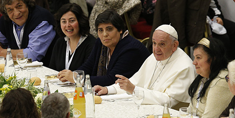 Some 1500 joined Pope Francis for lunch yesterday (CNS/Paul Haring)
