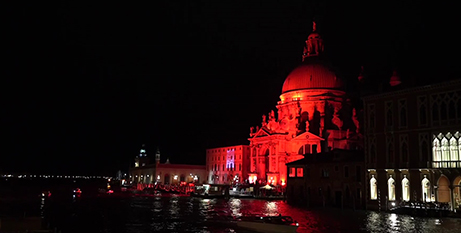 The Basilica di Santa Maria della Salute in Venice lit up in red to highlight persecuted Christians (Rome Reports)