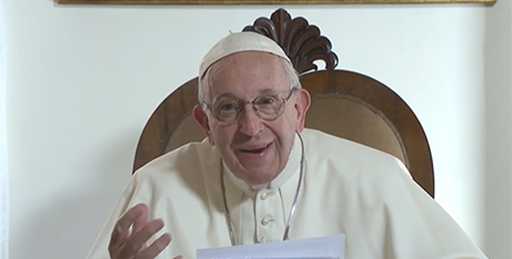 A screenshot from Pope Francis' video message for the Festival of the Social Doctrine of the Church (Vatican Media)