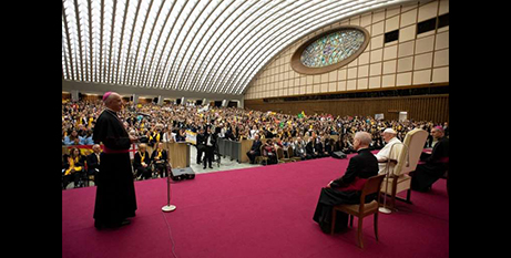 Pope Francis at the international meeting of choirs (CNA/Vatican Media)