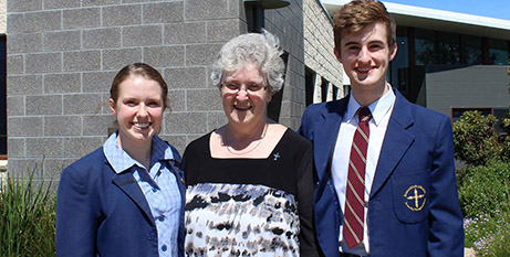 Sr Marie Davey with 2018 school captains (Facebook/Damascus College)