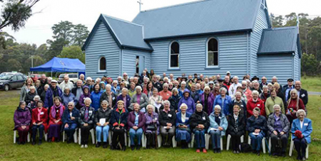 The pilgrims at St Brendan's Church Alonnah, Bruny Island (MSS/Fiona Basile)