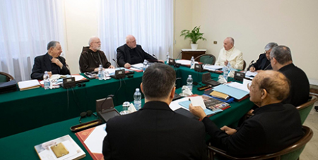 Pope Francis and the Council of Cardinal advisors (Vatican Media)
