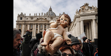One of the many Baby Jesus figurines at St Peter's Square on Sunday -CNS-Giuseppe Lami-EPA