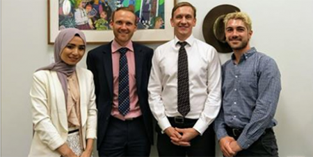 Julian Hill MP (third from left) meets with refugee advocates in Canberra (CAPSA)