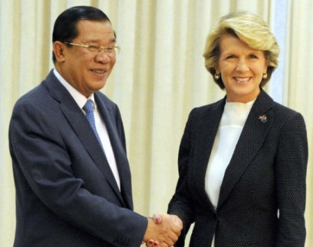 Cambodian PM with Foreign Minister Bishop in February.000