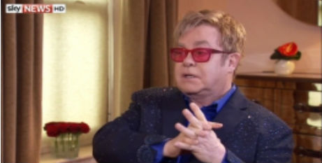 Elton John Sky News screen shot