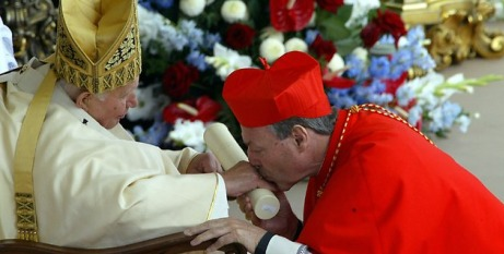 Cardinal Pell greets the Pope