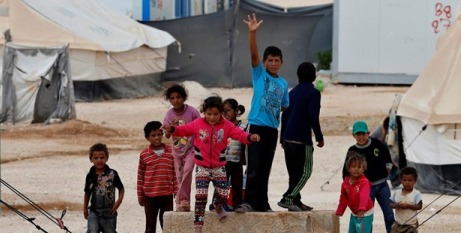 Syrian children at a refugee camp in Jordan