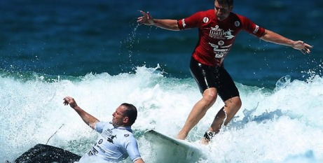 Tony Abbott wipes out in front of Mike Baird