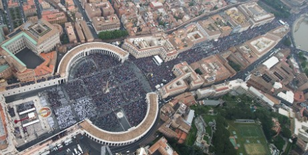 Crowds at St Peters yesterday