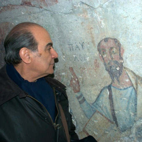 Actro David Suchet gazes at an early depiction of Paul