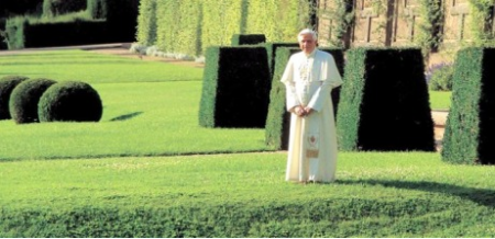 Pope Benedict in the garden