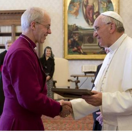 The Archbishop of Canterbury and Pope Francis meeting in Rome